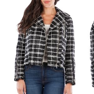 """""""Eveline"""" Textured Check Faux Leather moto Jacket"""